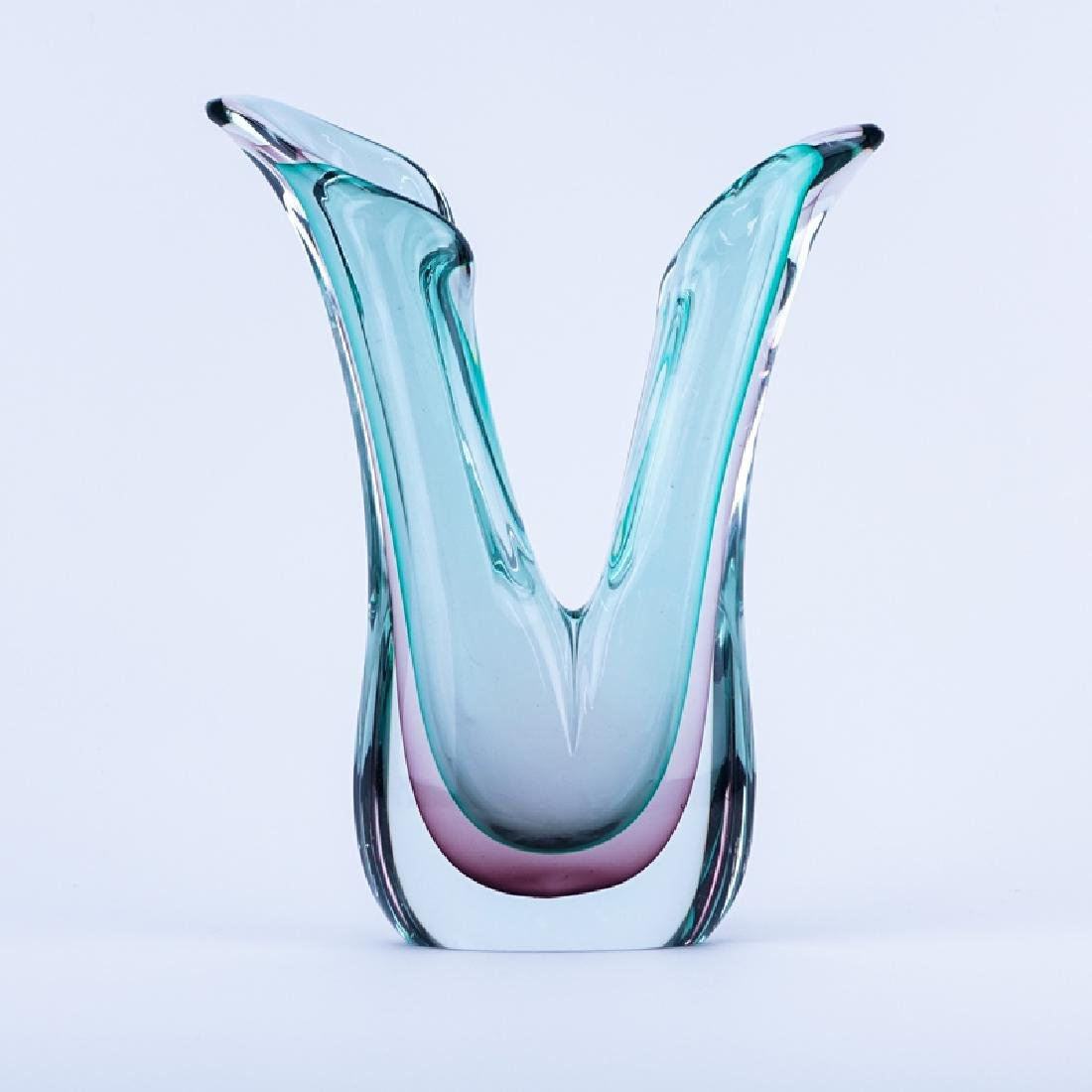 Murano Sommerso Art Glass Free Form Vase.