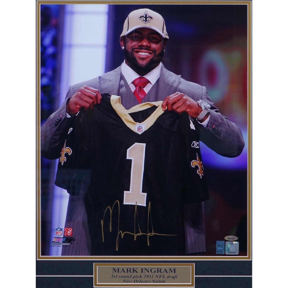Framed and Hand Signed Mark Ingram NFL Draft Photo.