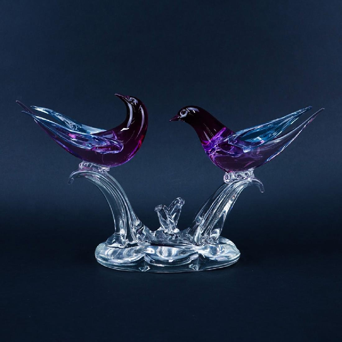 Formia Vetri di Murano Art Glass Love Birds Sculpture.