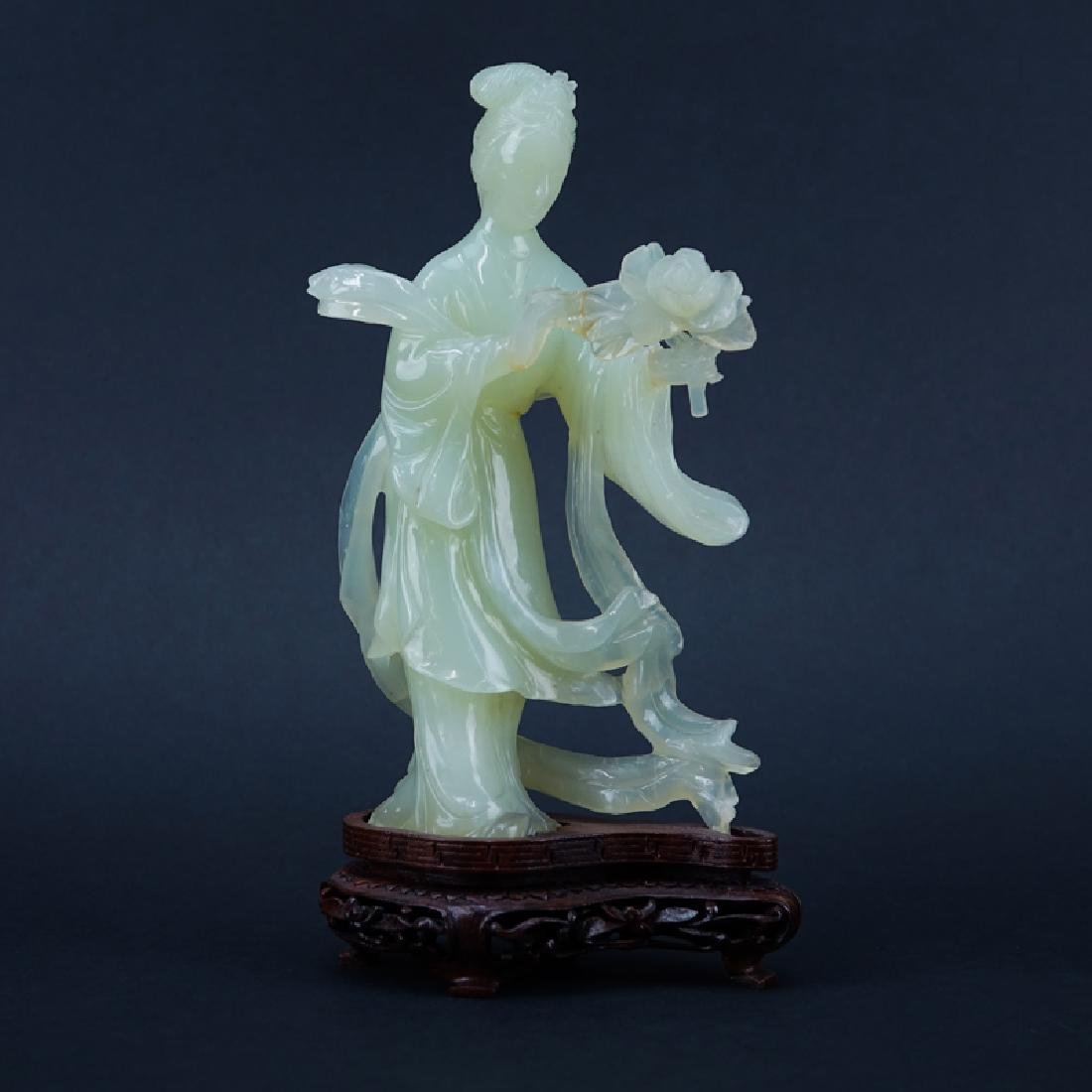 Chinese Serpentine Jade Carved Kwan Yin Figure on