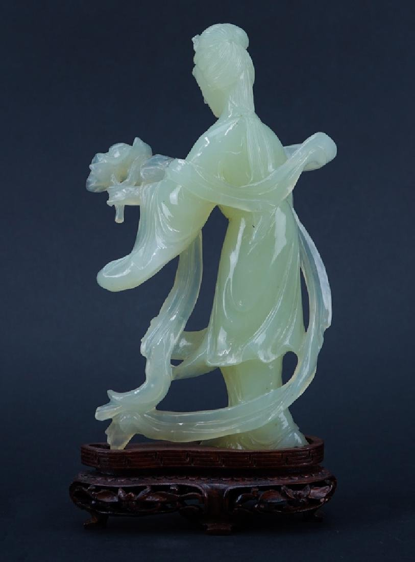 Chinese Serpentine Jade Carved Kwan Yin Figure on - 2
