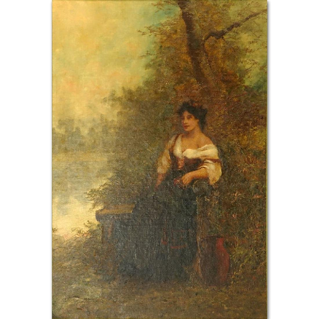 Large Oil on Board, Young Girl Seated in the Woods,