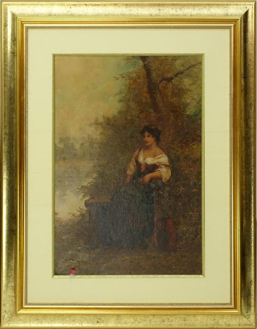 Large Oil on Board, Young Girl Seated in the Woods, - 2