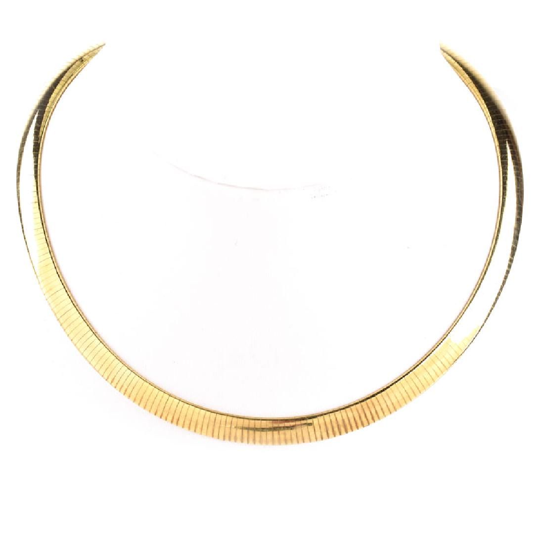 Vintage Italian 14 Karat Yellow Gold Choker Necklace.