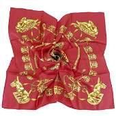 "Hermes Silk Scarf ""Les Cavaliers d'Or""."
