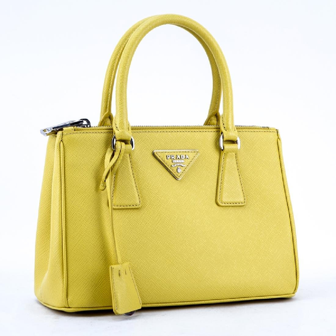 Prada Yellow Small Grained Leather Saffiano Lux