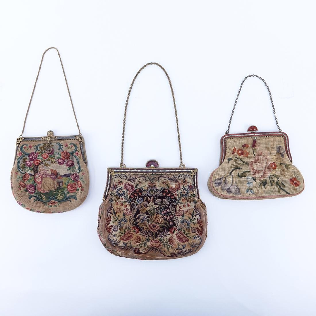 Collection of Three (3) Antique Tapestry Purses.