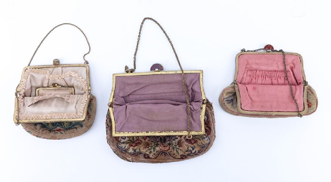 Collection of Three (3) Antique Tapestry Purses. - 2