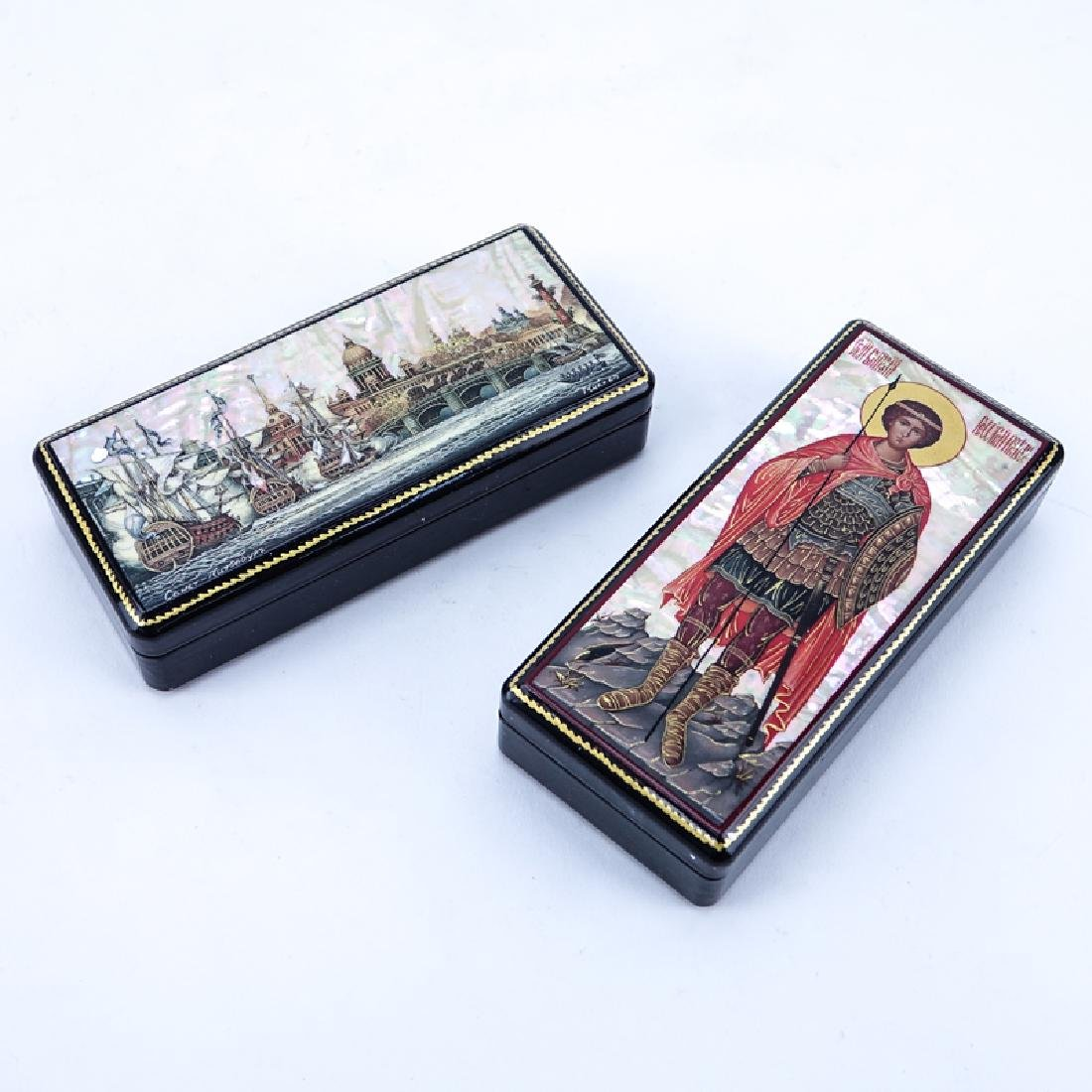 Two (2) Russian Lacquer Boxes with Mother of Pearl, One