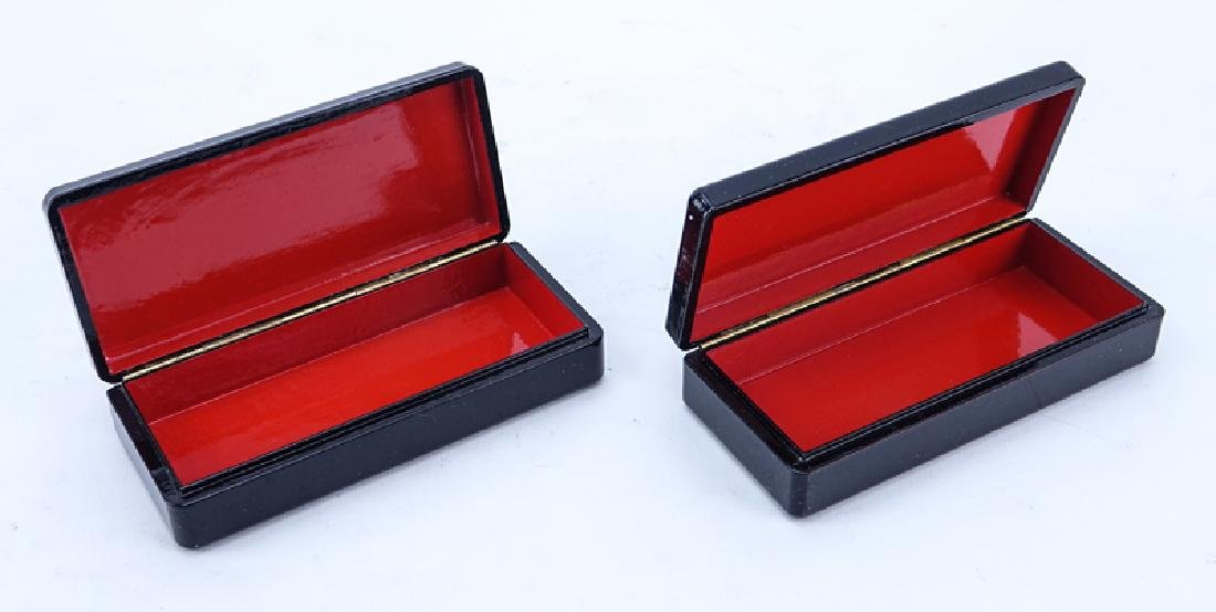 Two (2) Russian Lacquer Boxes with Mother of Pearl, One - 2