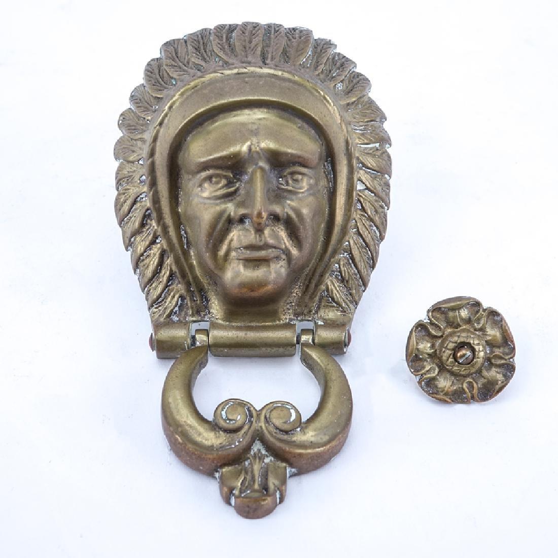 Antique American Indian Brass Door Knocker With Strike