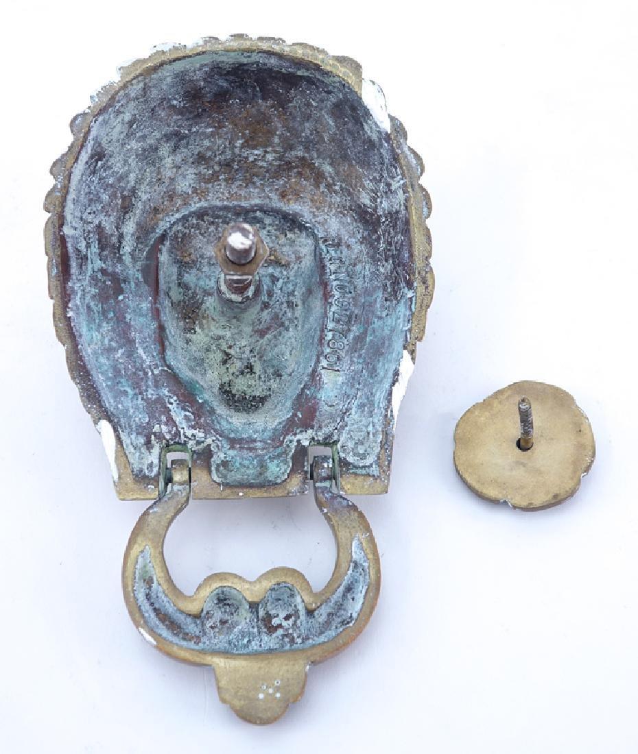 Antique American Indian Brass Door Knocker With Strike - 2