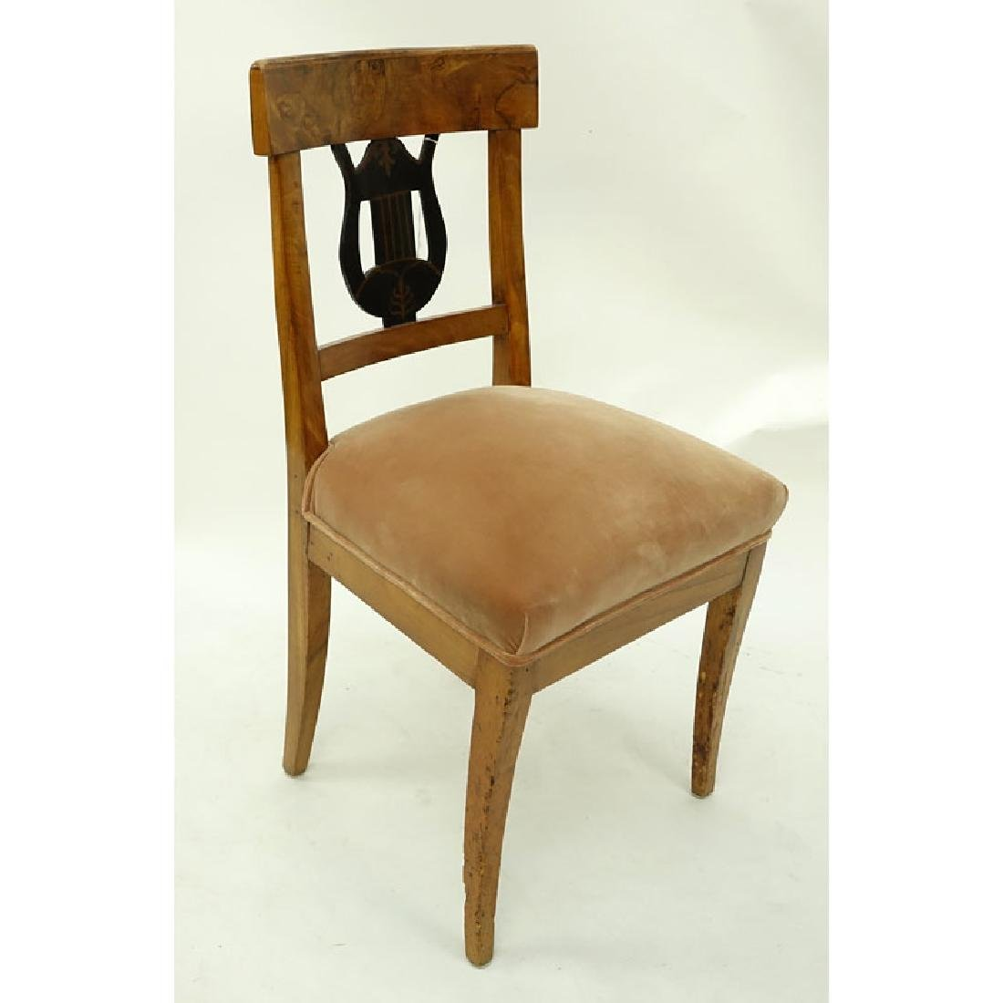 Antique Italian Burlwood Upholstered Side Chair.