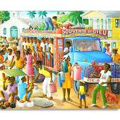 Andre Normil, Haitian (born 1934) Oil on Canvas, Busy