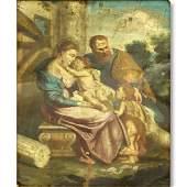 Antique Old Master Oil Painting on Tin, Religious Scene