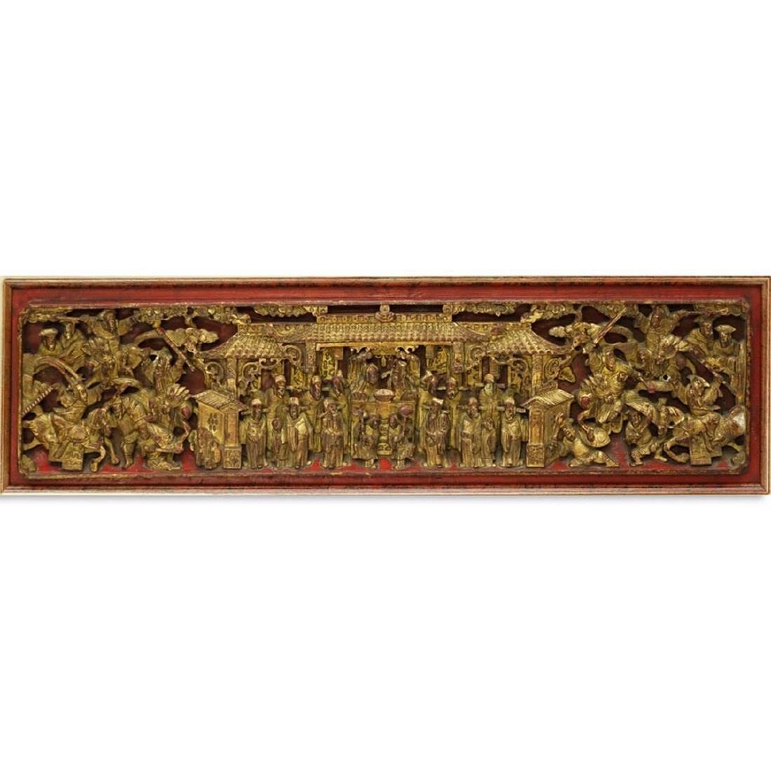 Chinese Gilt Painted and  Deep Relief Carved Wood