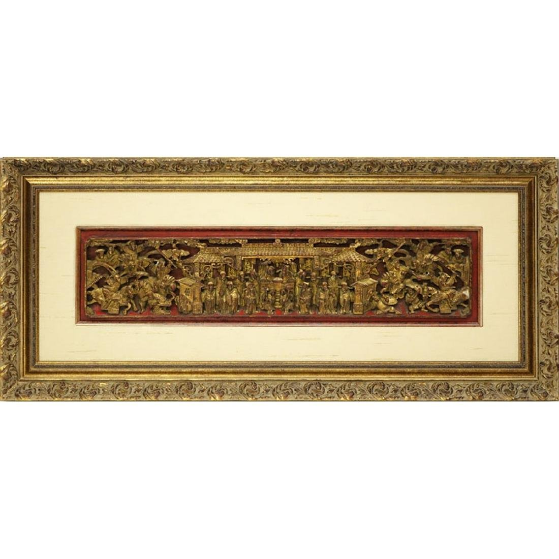 Chinese Gilt Painted and  Deep Relief Carved Wood - 2