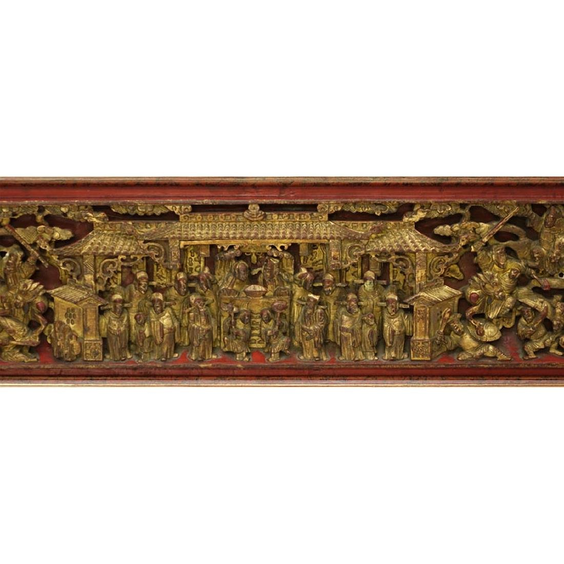 Chinese Gilt Painted and  Deep Relief Carved Wood - 4