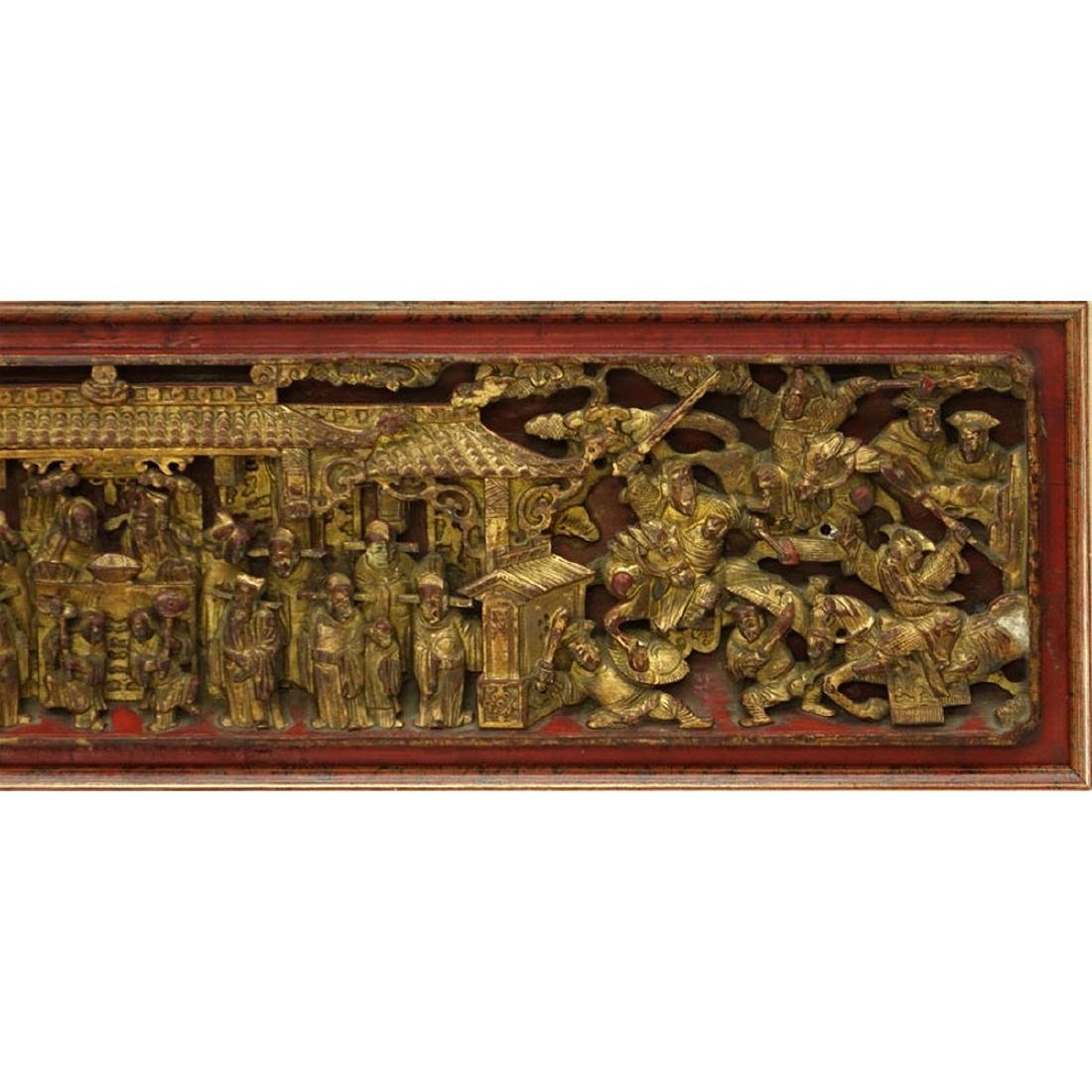 Chinese Gilt Painted and  Deep Relief Carved Wood - 5
