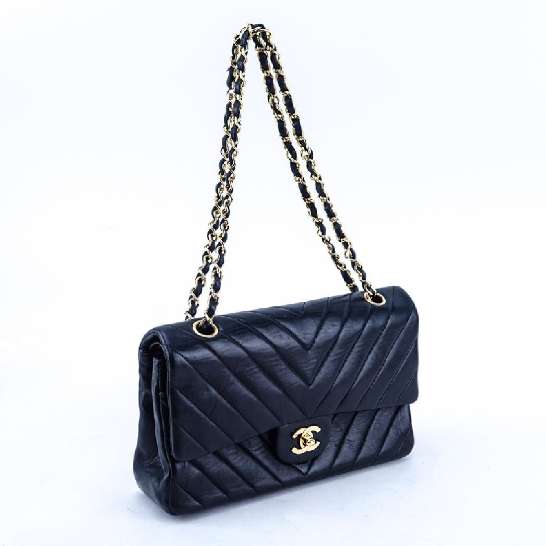 Chanel Black Quilted Chevron Motif Leather Double Flap