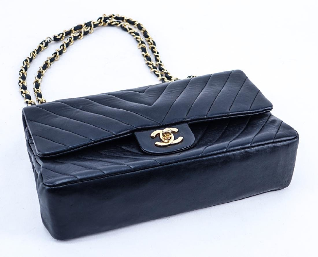 Chanel Black Quilted Chevron Motif Leather Double Flap - 3