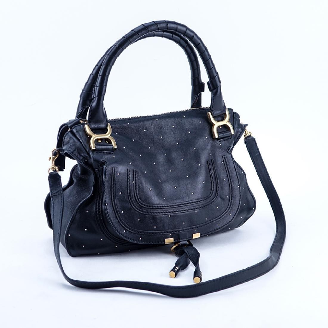 Chloe Black Smooth Studded Leather Marcie Shoulder Bag.