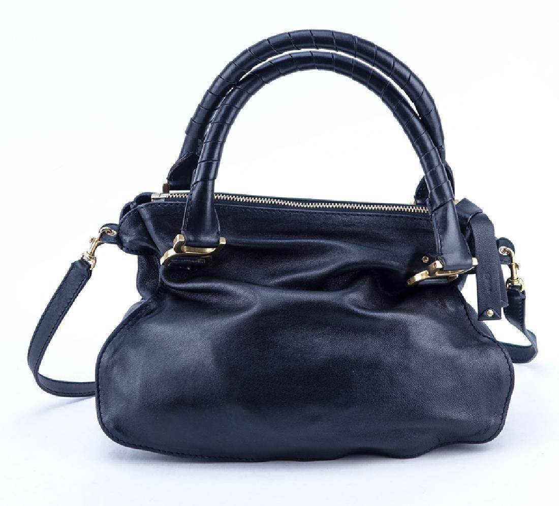 Chloe Black Smooth Studded Leather Marcie Shoulder Bag. - 2
