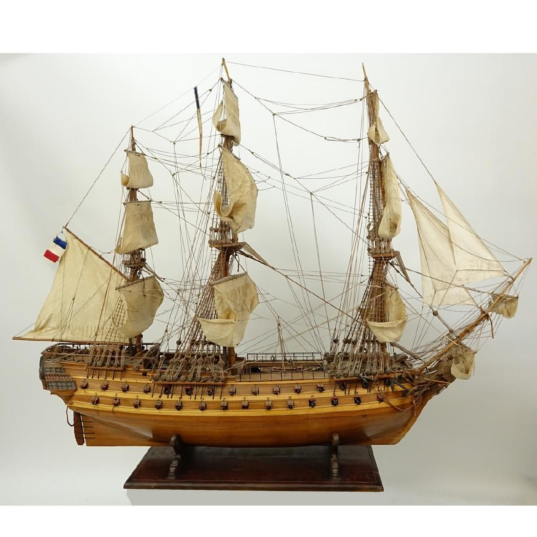 Antique French Wood Model Sailing Ship On Figural