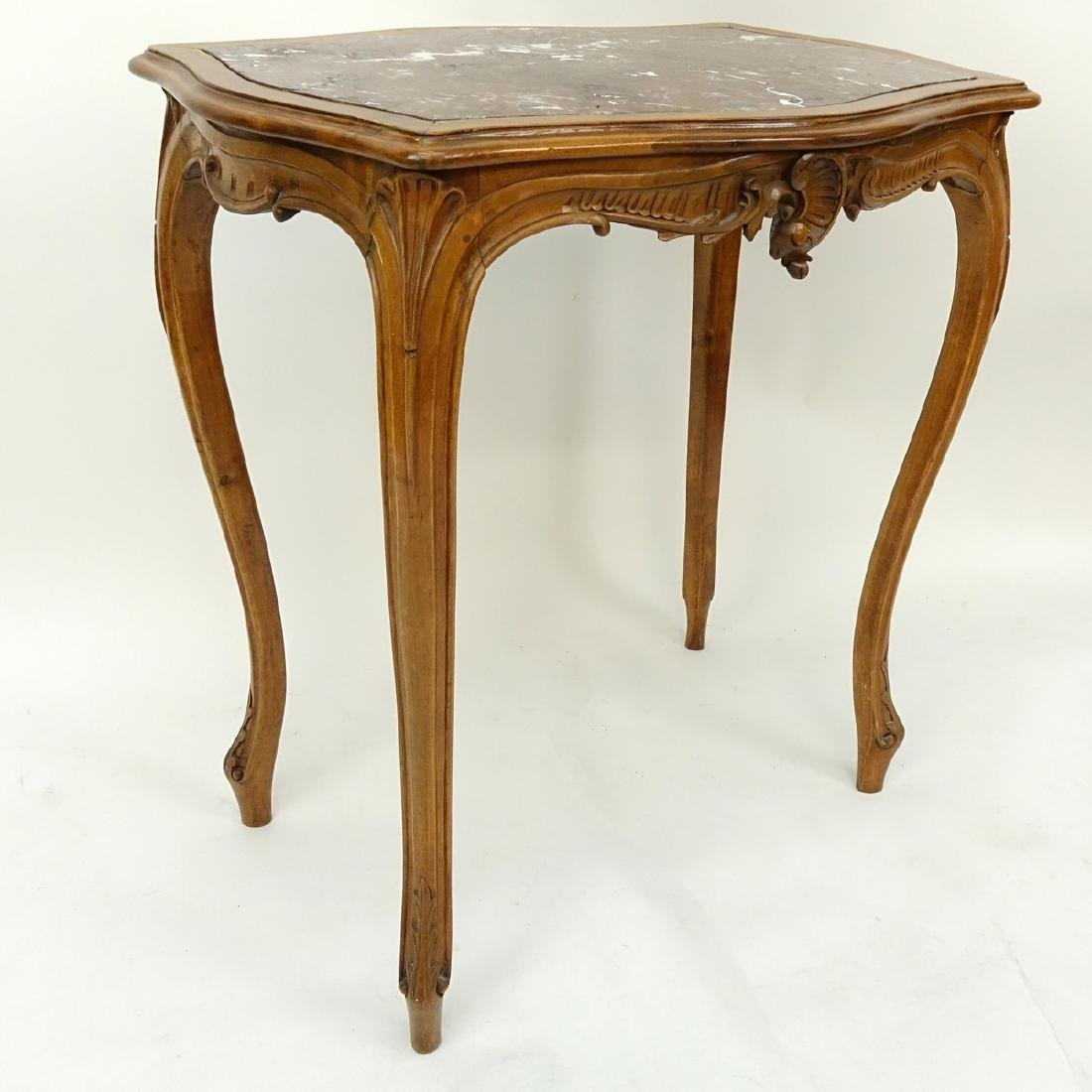 19/20th Century French Carved Wood Table with Marble