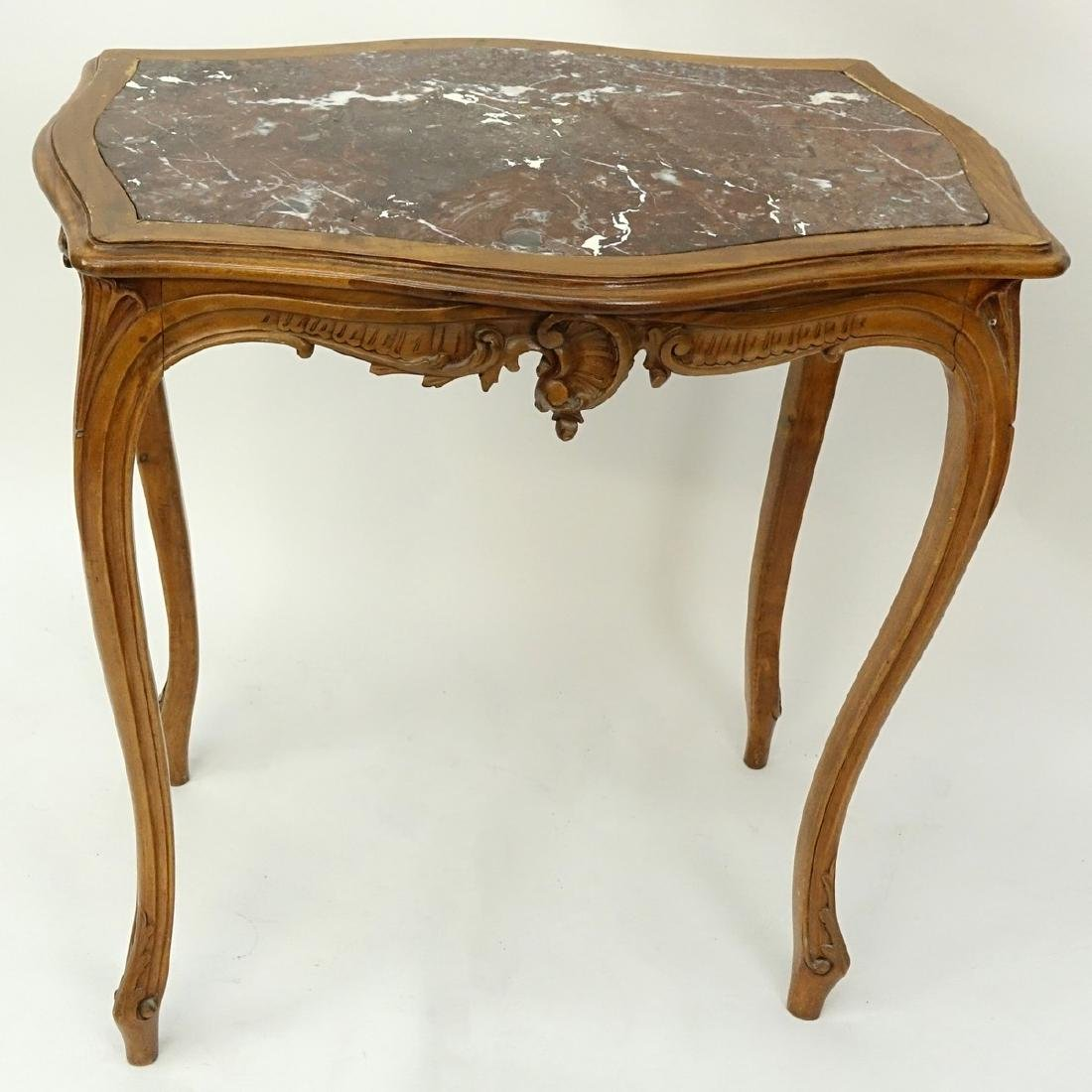 19/20th Century French Carved Wood Table with Marble - 3