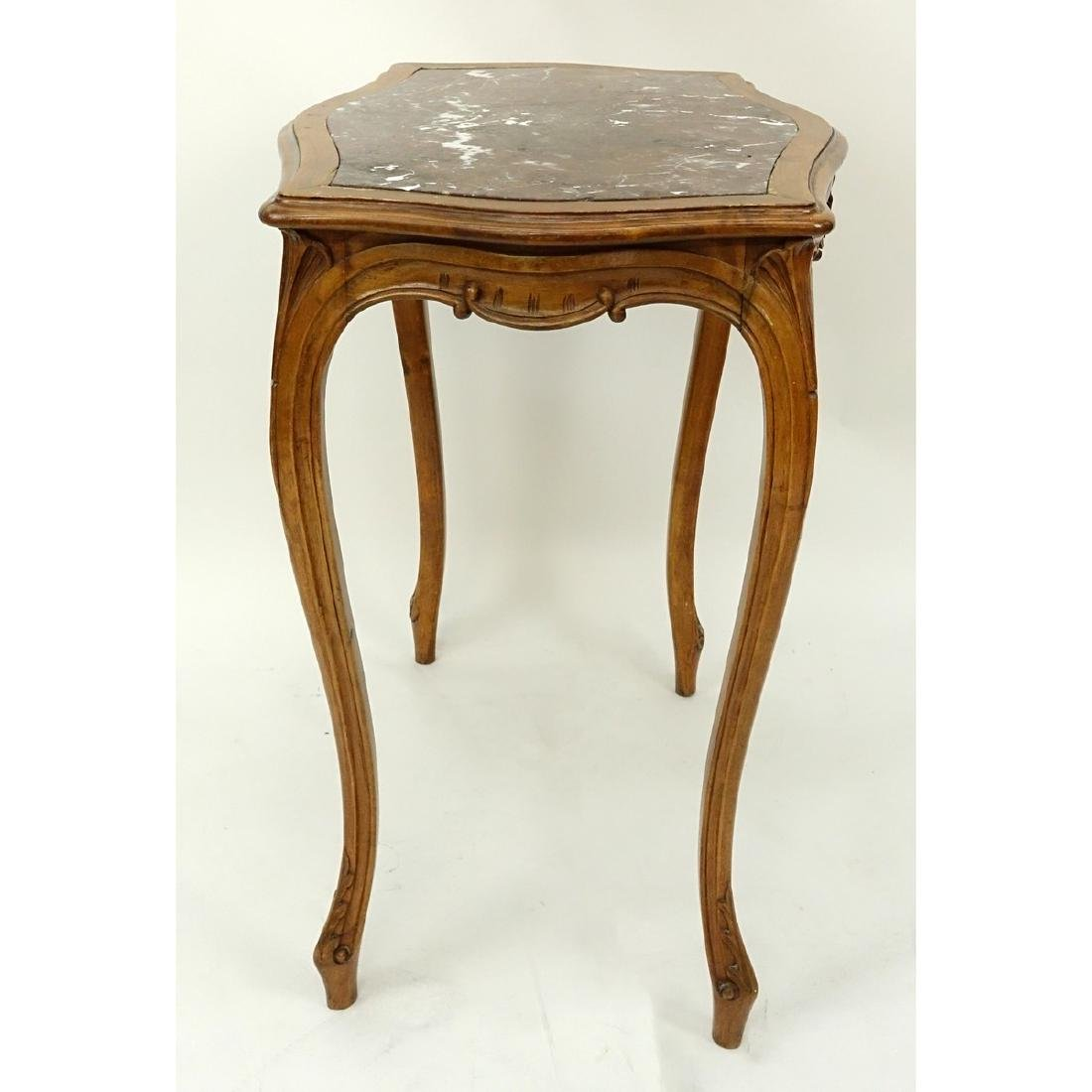 19/20th Century French Carved Wood Table with Marble - 4