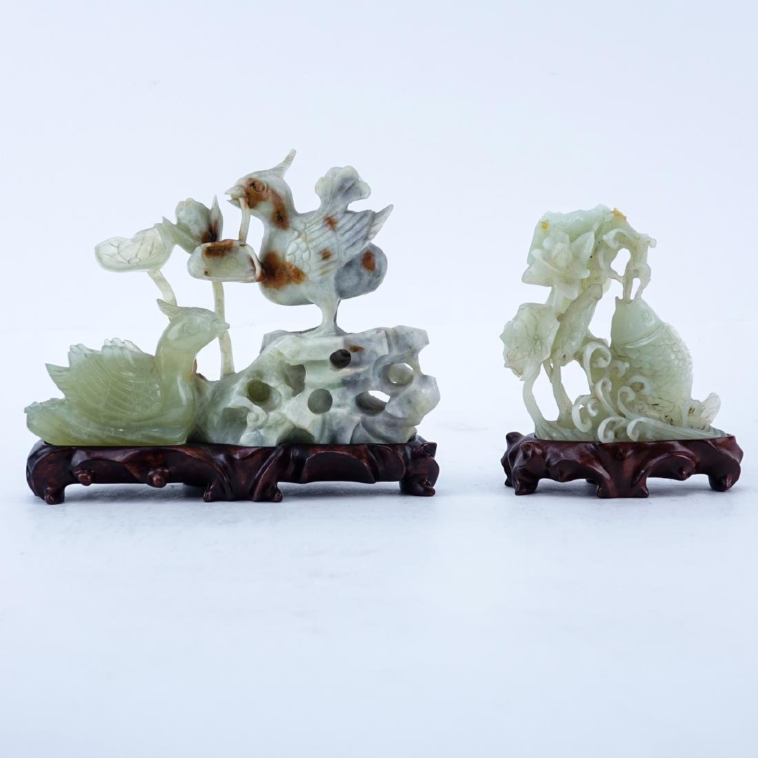 Grouping of Two (2): Chinese Carved Serpentine Jade