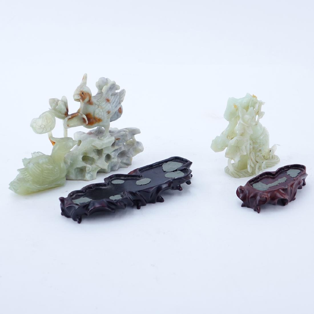 Grouping of Two (2): Chinese Carved Serpentine Jade - 2