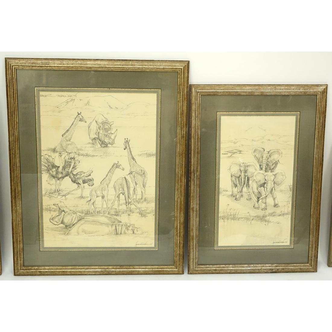 "Two (2) Nicely Done Pencil Drawings ""Serengeti"". Signed"