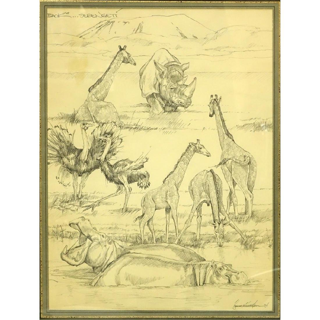 "Two (2) Nicely Done Pencil Drawings ""Serengeti"". Signed - 2"