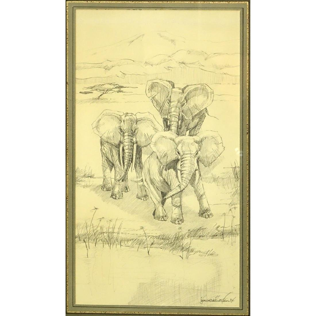 "Two (2) Nicely Done Pencil Drawings ""Serengeti"". Signed - 3"