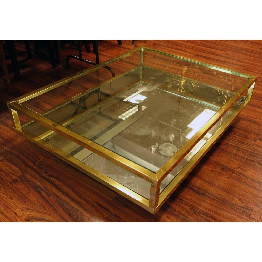 Mid Century Modern Mirrored and Glass Top Coffee Table.