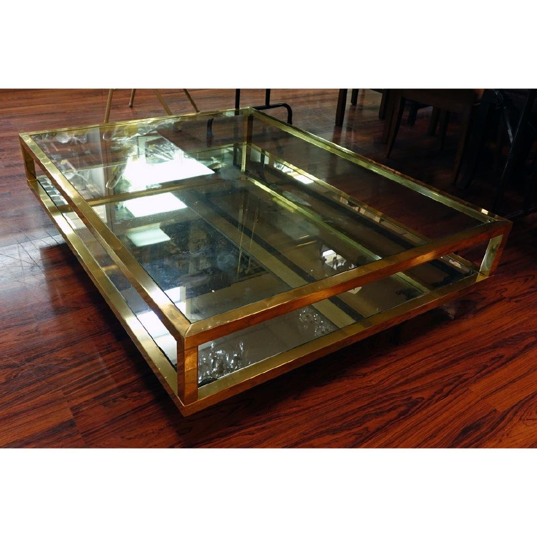 Mid Century Modern Mirrored and Glass Top Coffee Table. - 3