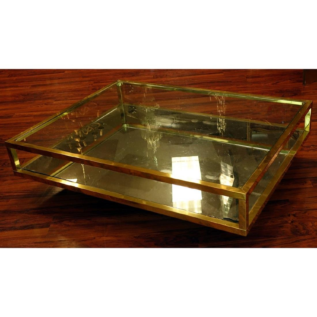Mid Century Modern Mirrored and Glass Top Coffee Table. - 5