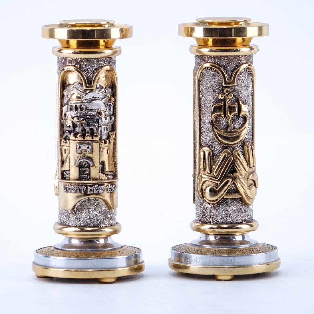 Pair of Frank Meisler Gilt and Silver Tone Metal