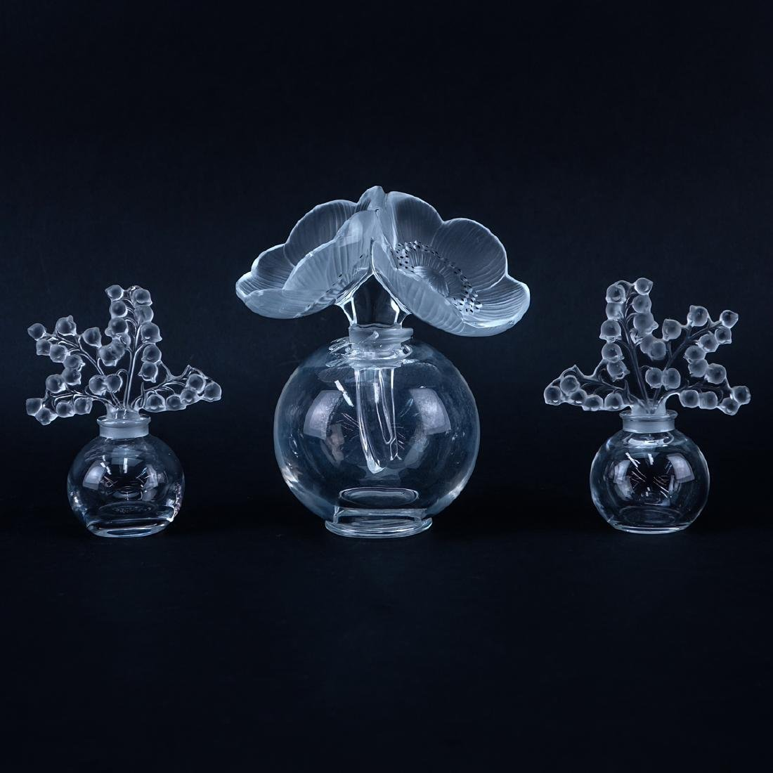 """Group of Three (3): Pair of Lalique """"Lily of the"""