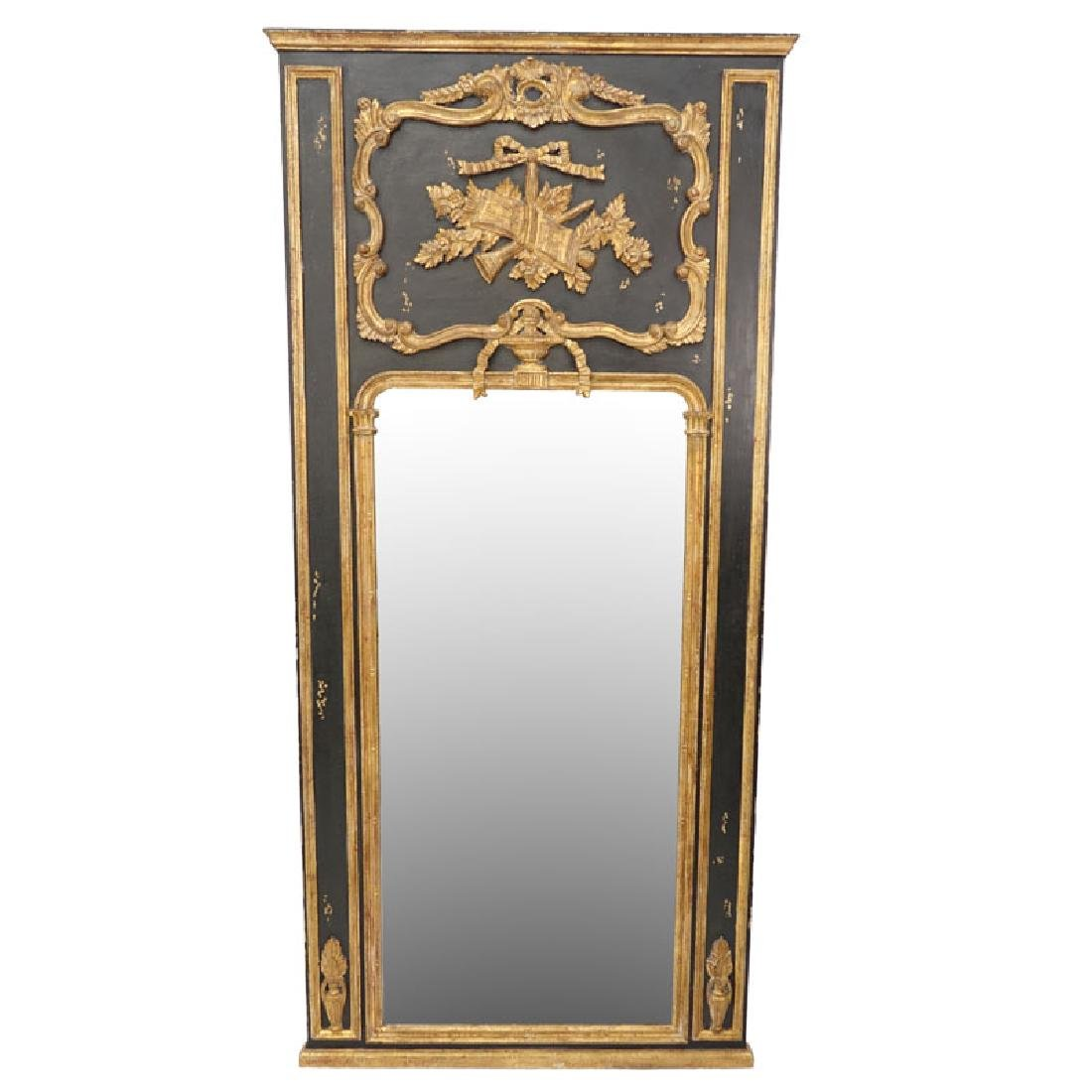 Large Italian Gilt and Painted Carved Wood Mirror.