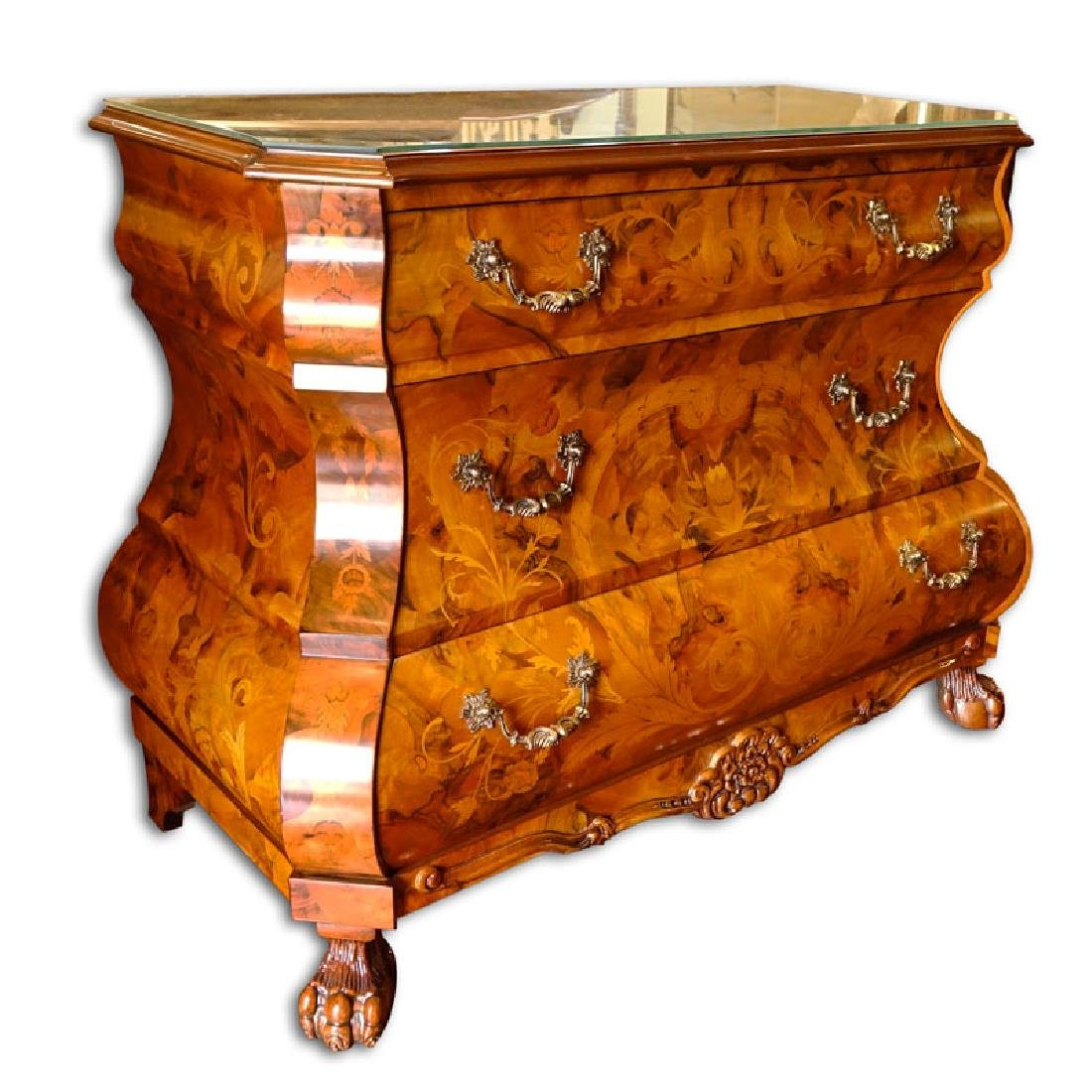 Modern Dutch Style Marquetry Inlaid Chest of Drawers.