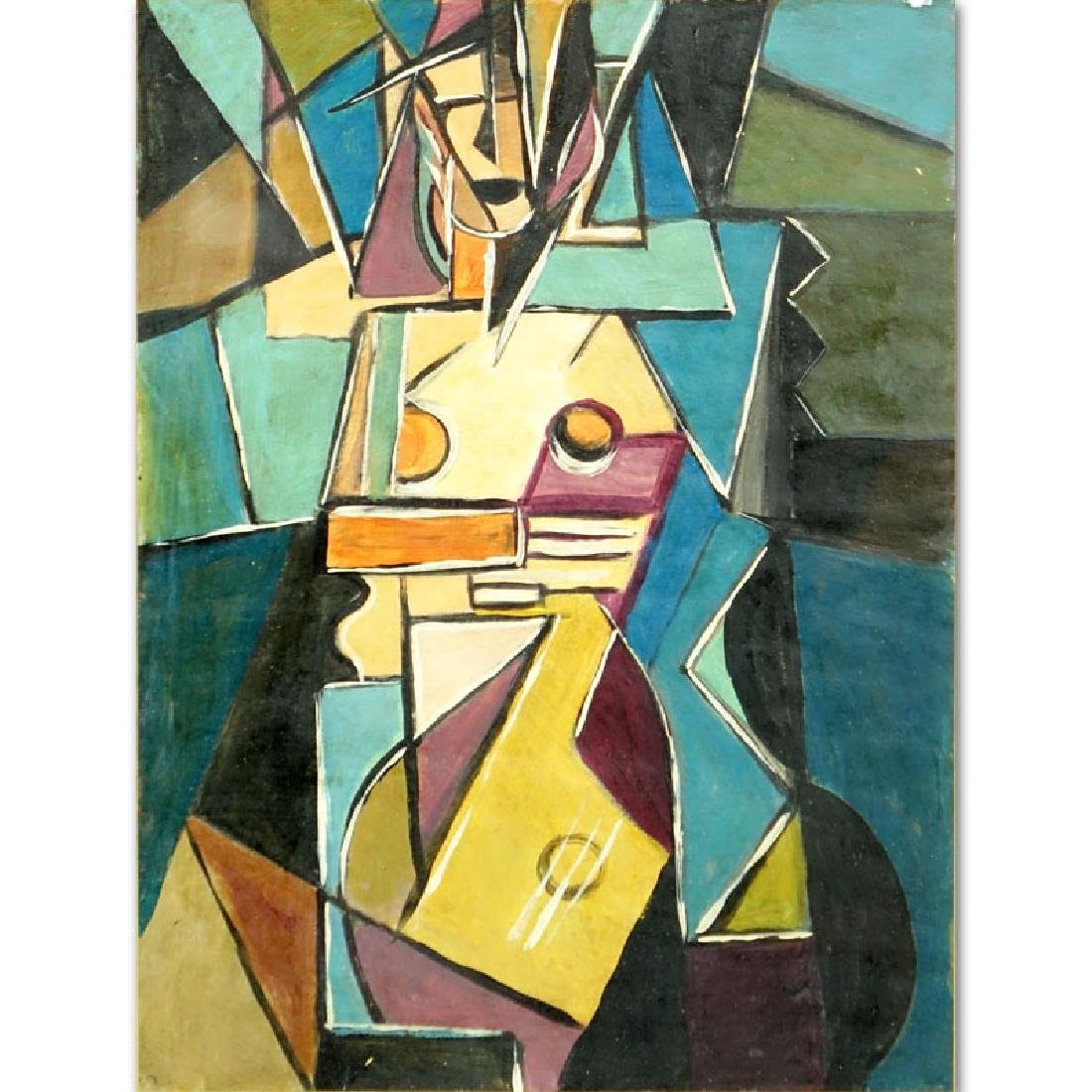 "1930's Russian School Gouache On Paper ""Cubist"