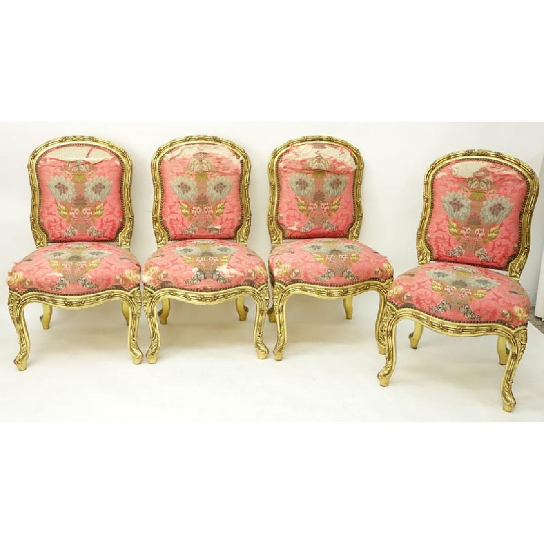 Set of Four (4) Carved Giltwood Louis XV Style Side