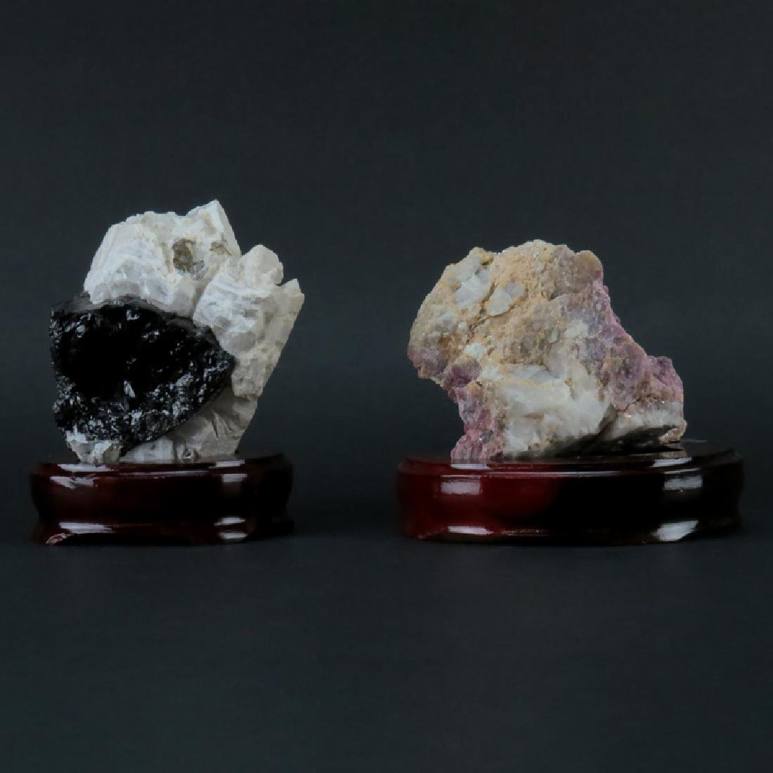 Two (2) Agate Mineral Specimens on Wooden Stands. Both