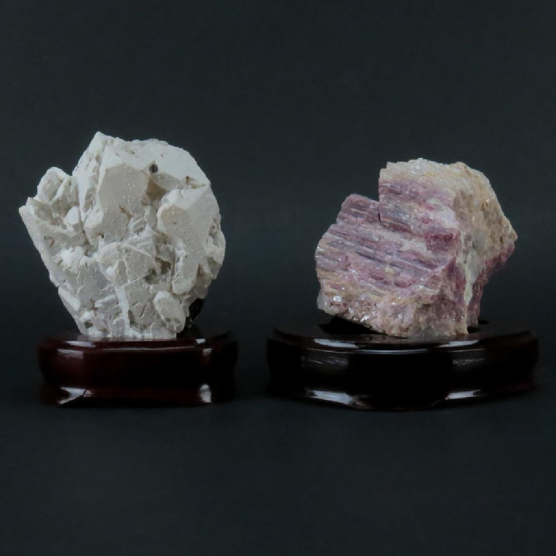 Two (2) Agate Mineral Specimens on Wooden Stands. Both - 2