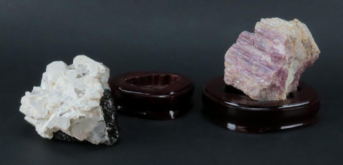 Two (2) Agate Mineral Specimens on Wooden Stands. Both - 3