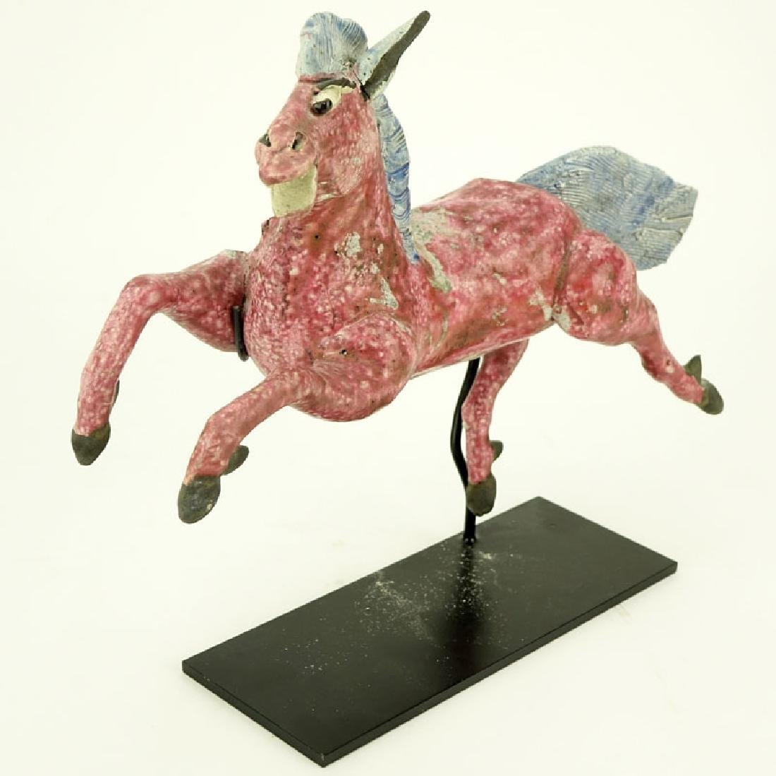 Antique Chinese Glazed Pottery Roof Tile Figurine of a