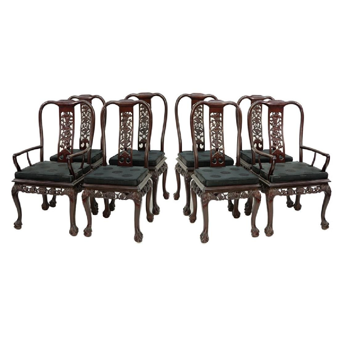 Set of Eight (8) Modern Chinese Carved Hardwood Chairs - 2